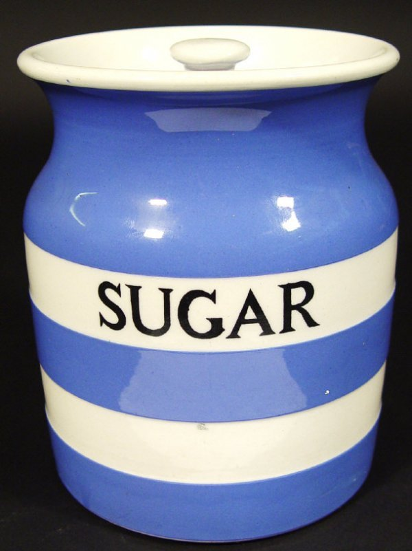 1219: T G Green Cornishware sugar storage jar, printed
