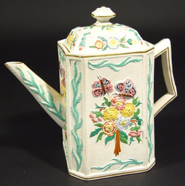 1223: Victorian square based pottery teapot, relief mou