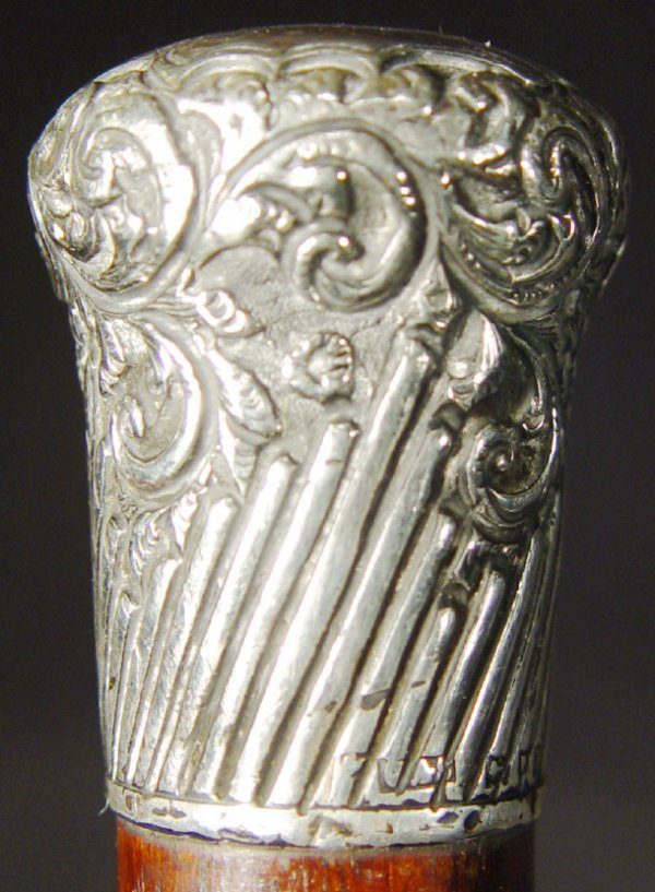 1312: Two silver topped walking canes, one with a flora - 3