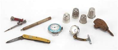 Antique and later objects including miniature silver