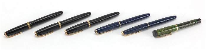 Six Parker fountain pens comprising five Duofolds, one