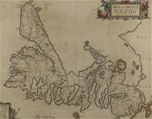 17th century hand coloured map of the Isle of Skye by