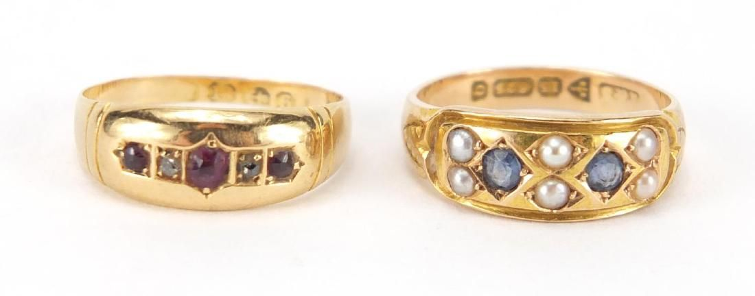 Two Victorian gold rings, 18ct gold garnet and diamond
