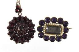 Victorian gold coloured metal amethyst and seed pearl