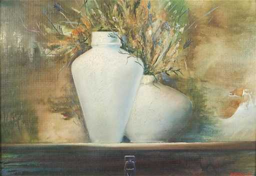 Still Life Vases With Flowers Russian School Oil On