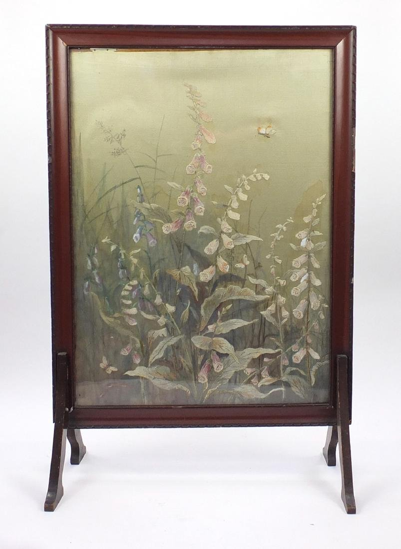 Mahogany framed silk tapestry fire screen, with