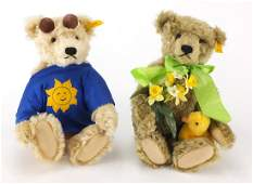 Two Steiff teddy bears with jointed limbs, numbers