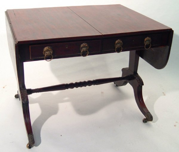 1: 19th Century mahogany drop leaf sofa table, fitted w