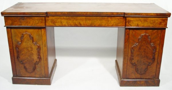 2: Victorian mahogany inverted breakfront twin pedestal