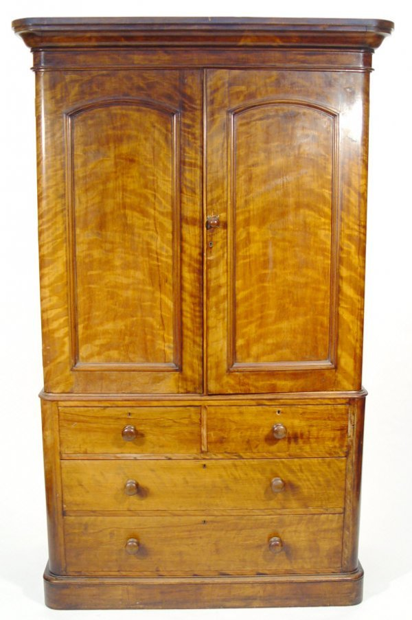 3: Victorian mahogany linen press, the moulded cornice