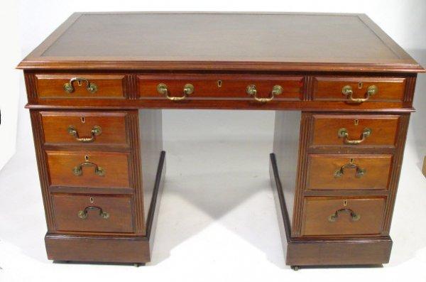 4: Victorian mahogany twin pedestal desk, the brown lea