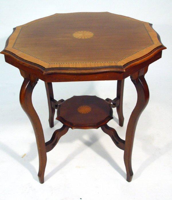 6: Edwardian crossbanded and inlaid octagonal mahogany