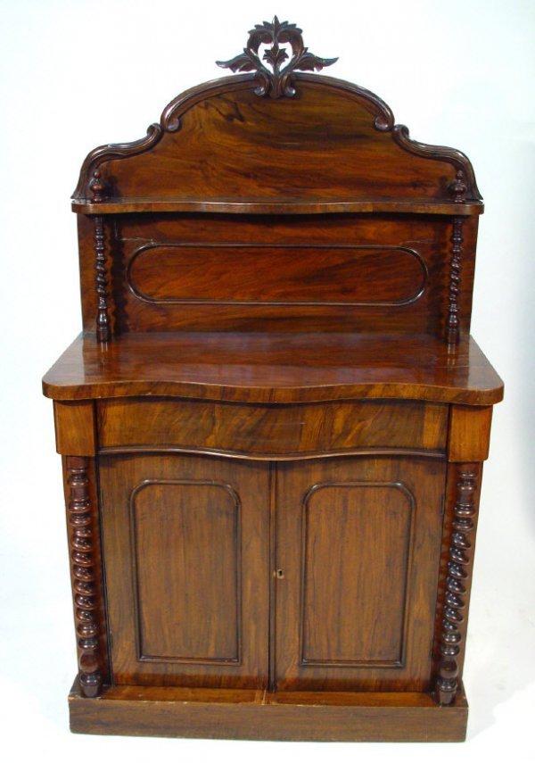 7: Victorian walnut chiffonier, the arch shaped cornice