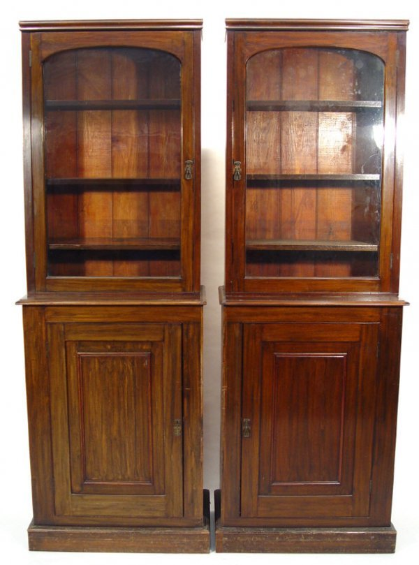 8: Pair of Victorian rosewood and mahogany bookcases, e