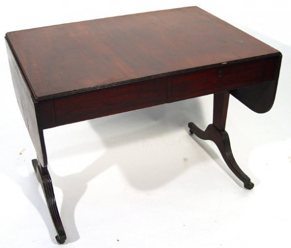 9: 19th Century mahogany drop leaf sofa table, fitted w