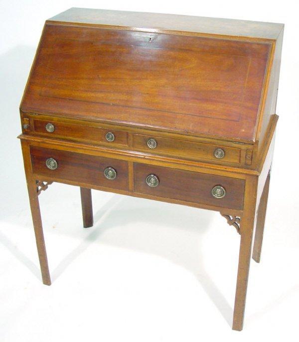 18: 19th Century line inlaid mahogany bureau, the fall