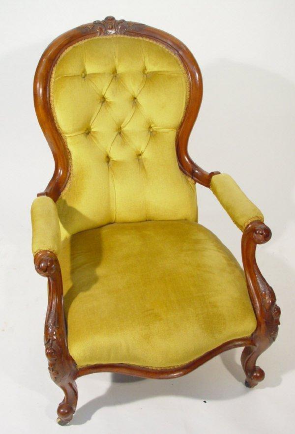 22: Victorian walnut framed spoonback open armchair wit