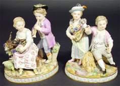 151 Pair of 19th Century Meissen china figure groups