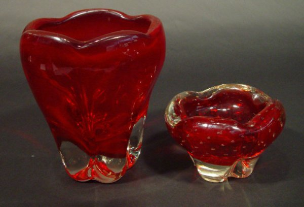 1208: Whitefriars ruby glass vase and a similar dish wi