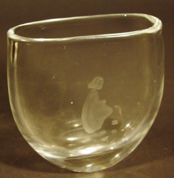 1210: Orrefors flat sided glass vase engraved with a yo