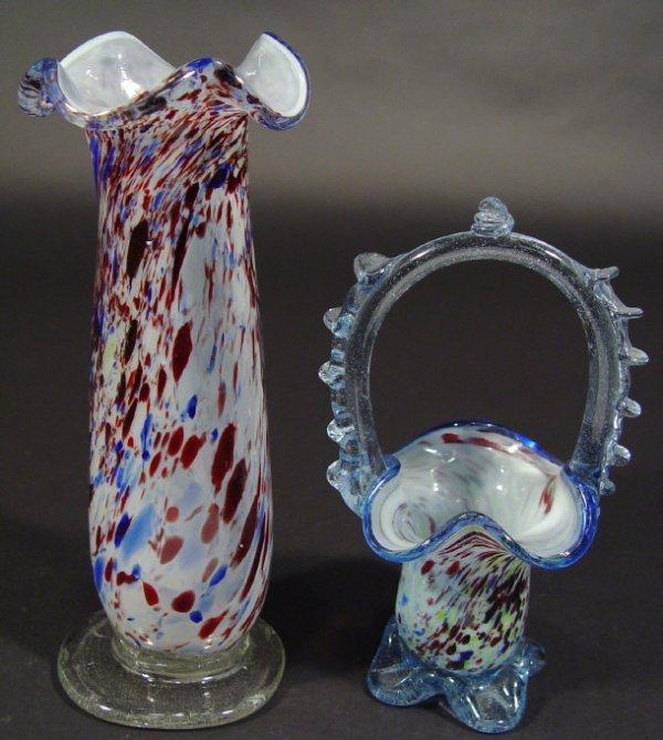 1211: Italian hand blown glass vase and a similar baske
