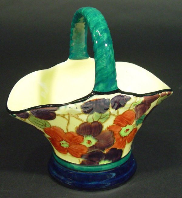 1240: Tuscan Decoro pottery basket hand painted with fl