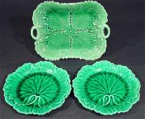 1403 Victorian Majolica green leaf plate and two simil