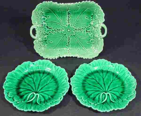 1403: Victorian Majolica green leaf plate and two simil