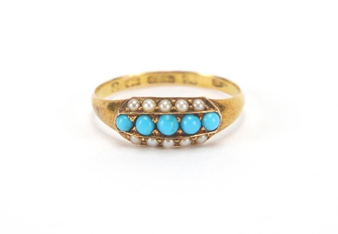 Victorian 15ct gold turquoise and pearl ring,