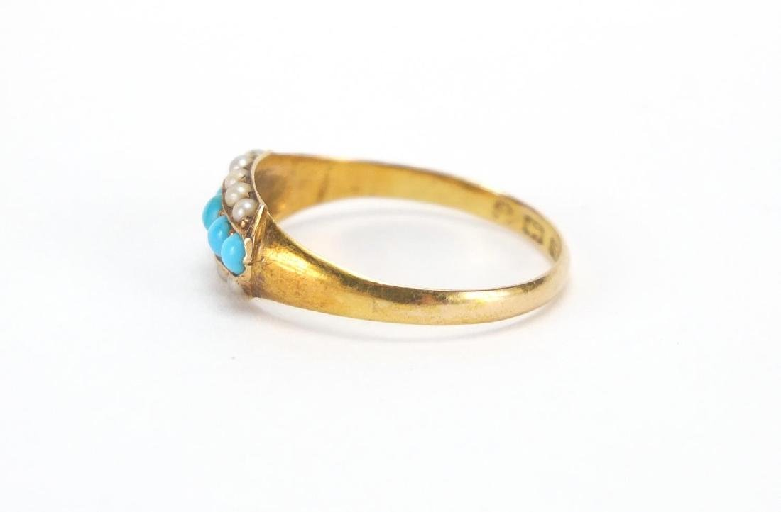 Victorian 15ct gold turquoise and pearl ring, - 2
