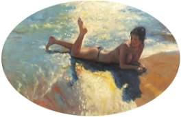 Portrait of a semi nude female bathing in water, oval