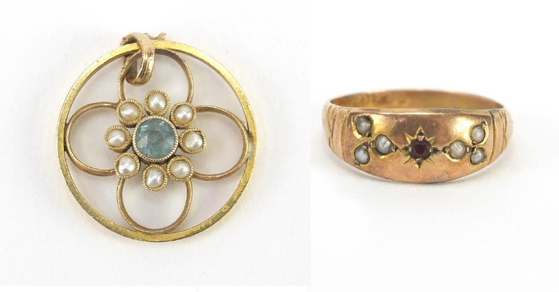 Victorian 9ct gold garnet and seed pearl ring and an