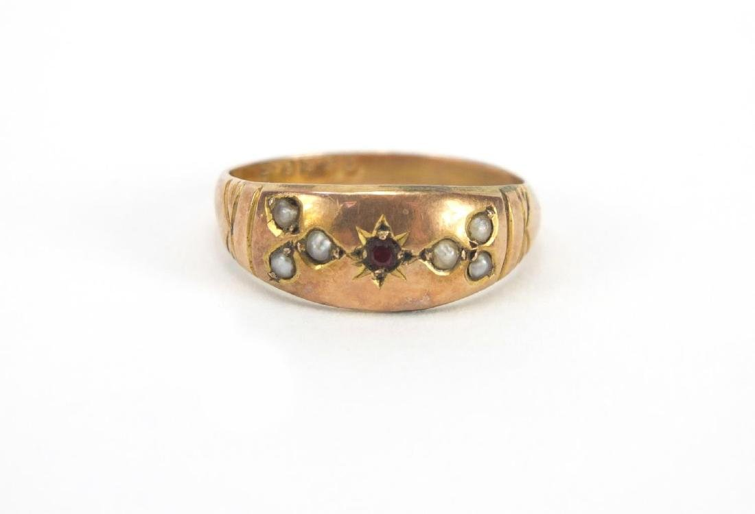 Victorian 9ct gold garnet and seed pearl ring and an - 4