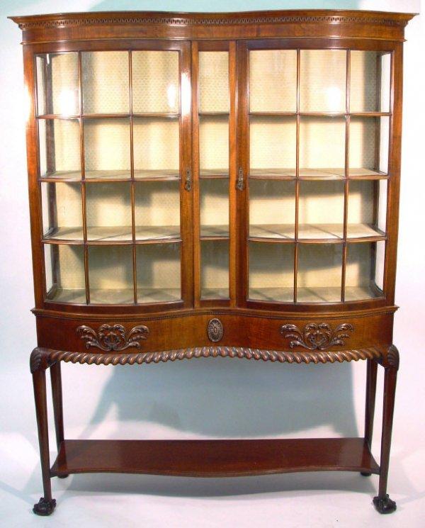 1: Edwardian mahogany serpentine fronted china cabinet