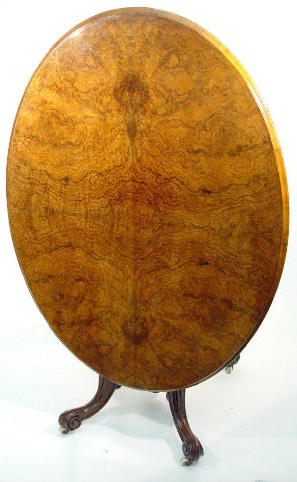 2: Victorian burr walnut oval tilt-top breakfast table
