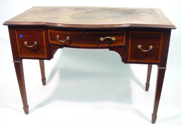 6: Victorian satinwood banded mahogany writing table, t