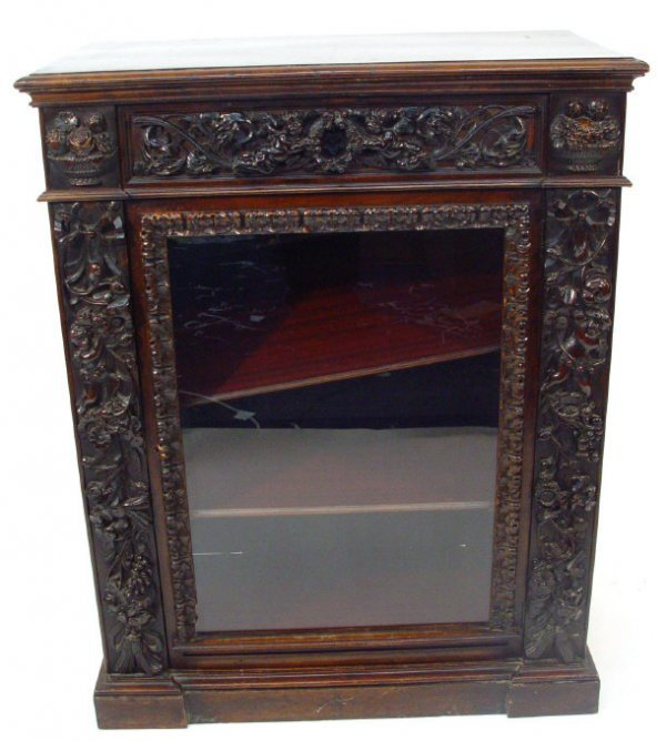 10: Victorian mahogany pier cabinet fitted with a friez