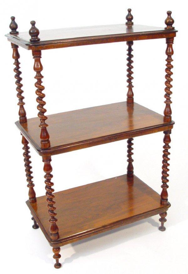 14: Victorian walnut three tier whatnot of small propor