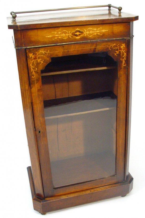 18: Victorian inlaid walnut music cabinet, the brass ga