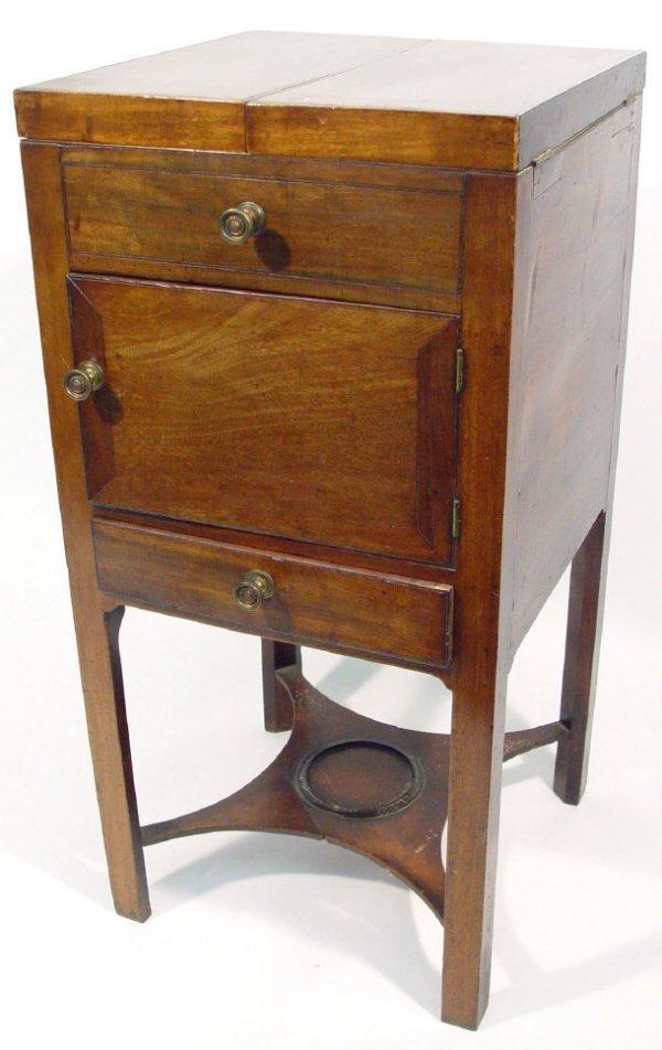 19: 19th century mahogany washstand, the hinged lid abo