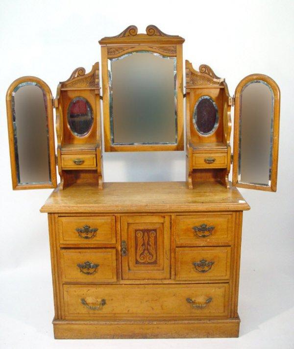 24: Victorian satin walnut dressing chest, the triple a