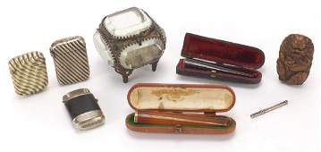 Antique and later objects including two amber coloured
