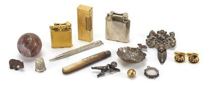Antique and later objects including three Dunhill