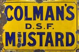 Vintage Coleman's mustard enamel advertising sign, 46cm