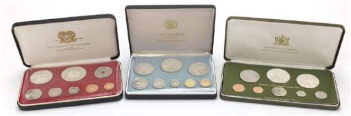 Three proof coin sets by The Franklin Mint, some silver
