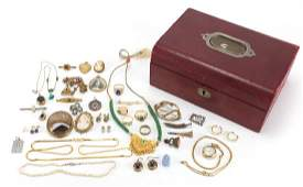 Antique and later jewellery including a silver enamel