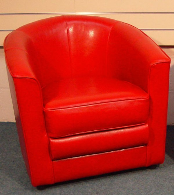 1205: Contemporary red leather tub chair (option)