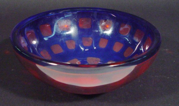 1209: Orrefors blue and red glass bowl by Sven Palmquis