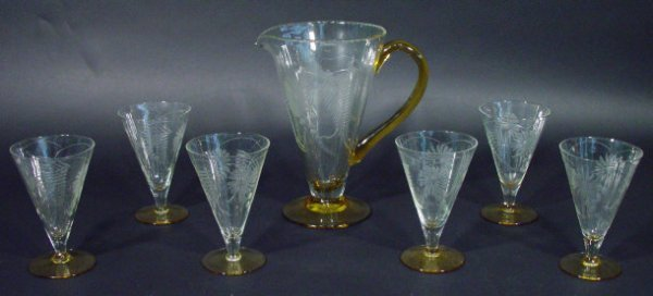 1222: 1930s six place conical glass lemonade service, e