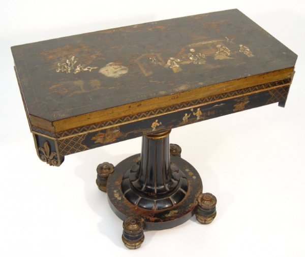 1: 19th century black lacquered card table, the chinois